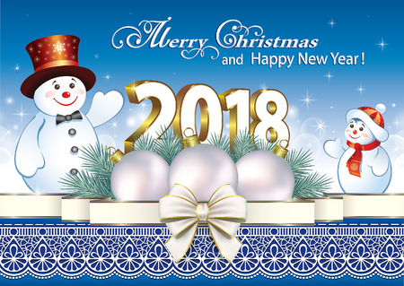 aria: Happy New Year 2018 with snowmen Illustration