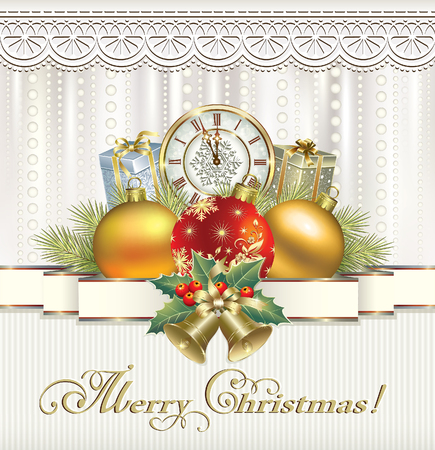 Christmas gifts on the background of ornaments