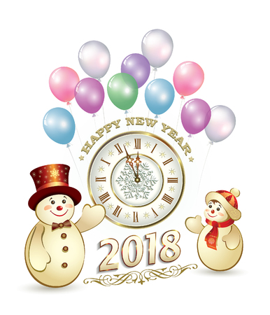 aria: New Year 2018 with snowmen on the background of clock and balloons