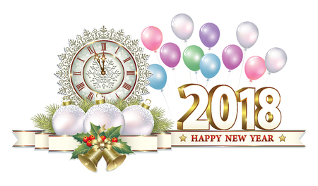 aria: Happy New Year of 2018 with clocks and bells on the background of balloons Illustration