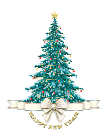 aria: Christmas card with Christmas tree and ribbon with bow on a white background