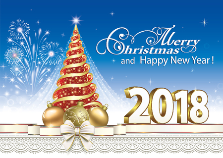 Happy New Year 2018 with a Christmas tree and ball on the background of fireworks