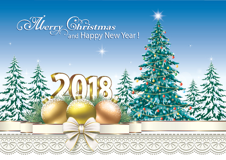 aria: Happy New Year 2018 with a Christmas tree