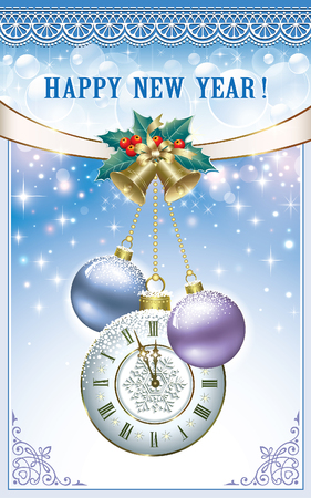 aria: Happy New Year with bells, balls and clock