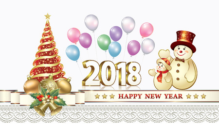 Happy New Year 2018 with a Christmas tree and snowman Ilustração