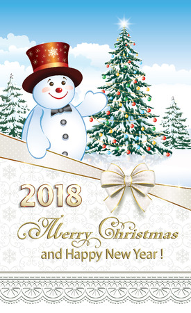 aria: Happy New Year of 2018 with a snowman on the background of a Christmas tree