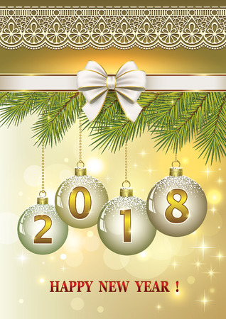 aria: Happy New Year on the background of fir branches and ornaments with balls. Illustration