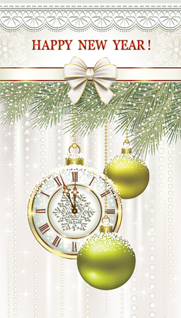 aria: Happy New Year with bells, balls and clock on the background of fir branches and ornaments Illustration