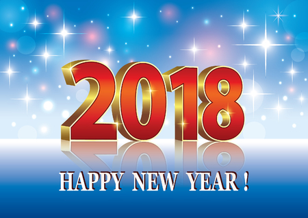 Happy New Year 2018 on a blue background with stars