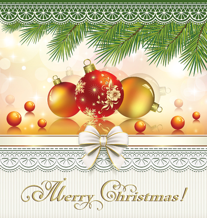 aria: Happy New Year on a background of fir branches and ornaments with a balls