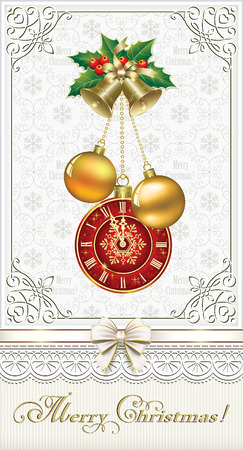 aria: Happy New Year with bells, balls and clock on the background of ornaments