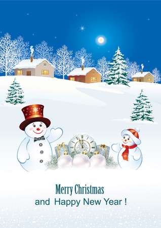 aria: Happy New Year with snowmen and gifts on the background of nature and the New Year tree.
