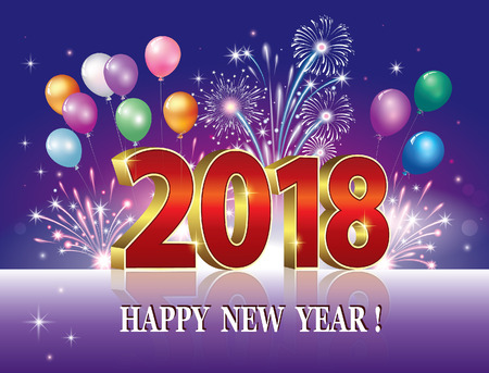 Happy New Year of 2018 against the backdrop of fireworks and balloons