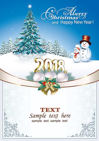 aria: Christmas greeting card design concept. Illustration