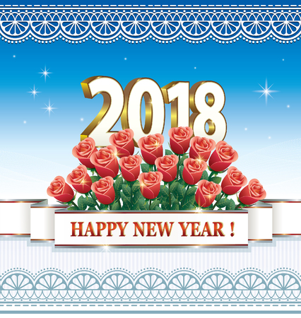 aria: Happy New Year 2018 with a bouquet of roses Illustration