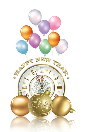 Happy New Year with balls and clock against the background of balloons