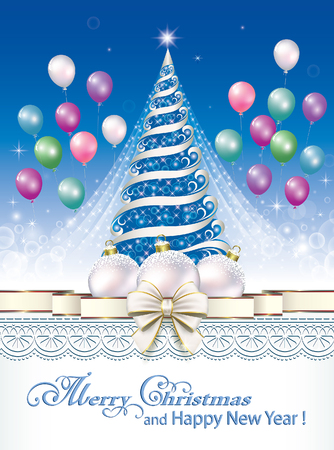 aria: Christmas tree on the background of ornaments and balloons Illustration