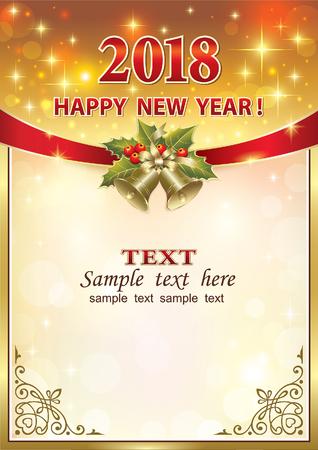 Happy new year 2018 card design. Illustration
