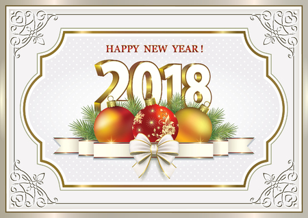 aria: Happy New Year 2018 with balls and ribbon with bow in frame with ornament Illustration