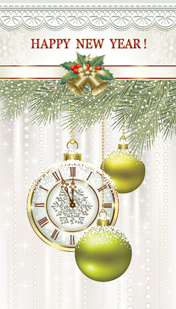 Happy New Year with balls and clock with fir branches.