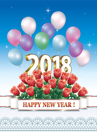 Date 2018 Happy New Year with a bouquet of roses on the background of ornaments and balloons