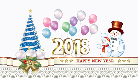 2018 Christmas card with a Christmas tree, balls and a snowman. Ilustração