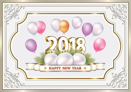 New Year background in a curly frame with balloons.Vector illustration Ilustração