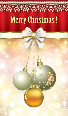 Christmas card with bells and balls on decorations background. Vector illustration