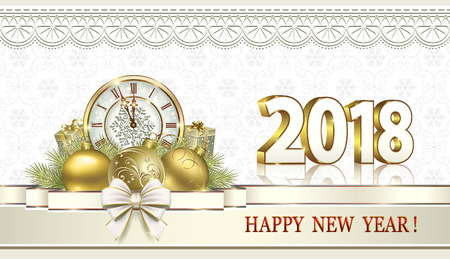 Merry Christmas and Happy New Year 2018. Vector illustration