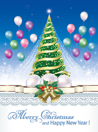 2018 Christmas card with a Christmas tree and Christmas decorations on the background of balloons and ornaments. Vector illustration Vettoriali