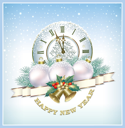 Happy New Year 2018. Christmas balls on the background of a clock and fir branches. Vector illustration