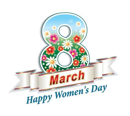 Happy Women's Day 8 March Ilustração