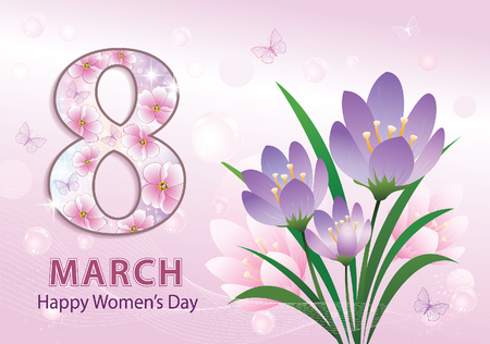March 8 Women's Day with flowers. Vettoriali