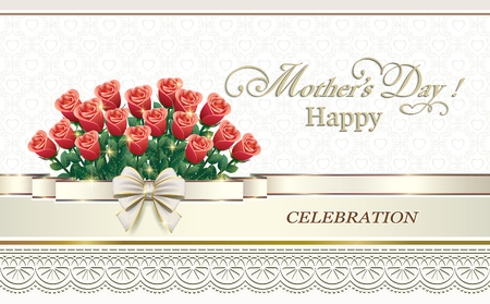 Mothers Day. Celebratory background with bouquet of roses and ribbon with bow