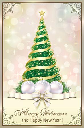 Christmas tree and Christmas decorations Illustration
