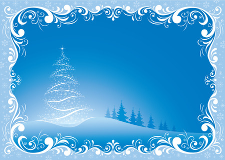 2019 Christmas tree on a blue background in a frame with a beautiful ornament
