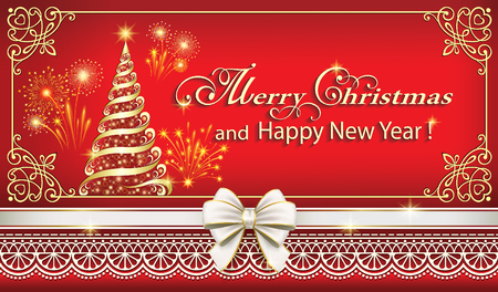 Merry Christmas and Happy New Year background 2019