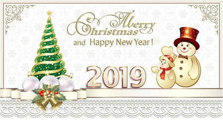 Happy New Year 2019. Greeting card with a Christmas tree and snowmen Illustration