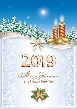 Merry Christmas 2019.Christmas spruce and snowflakes.Vector illustration