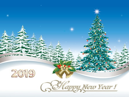 Postcard with Christmas tree 2019 on the background of nature. Vector illustration Vettoriali