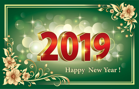 Felice anno nuovo 2019. Illustrazione vettoriale Vettoriali
