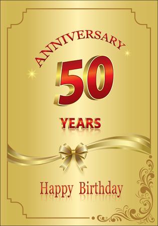 Anniversary 50 years, happy Birthday, gold design.