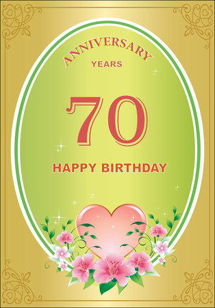 Anniversary 70 Years Birthday Greeting Card Celebration Holidays