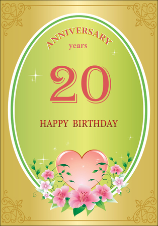 Anniversary 20 years, birthday, background, greeting card, celebration, holidays.Vector illustration Vettoriali