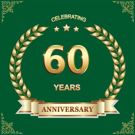 60 years anniversary, birthday illustration design