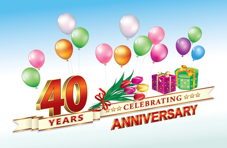 40th anniversary, birthday, 40 years, celebrations. Birthday card with gift boxes, flowers  illustration Design