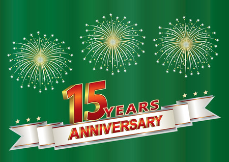 15 years anniversary postcard with fireworks on a green background with silver ribbon.Vector illustration Vecteurs