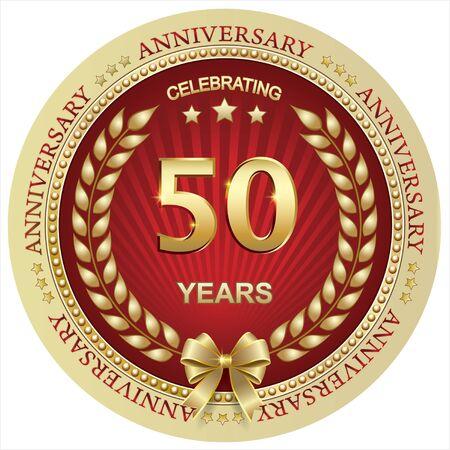 Anniversary 50 years, birthday, holiday, celebration, greeting card. Vector illustration