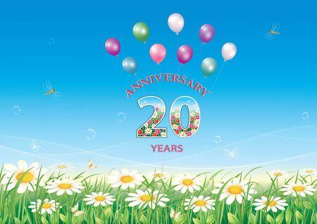20th anniversary, Birthday card