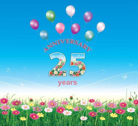 Aniversario 25 años, feliz cumpleaños, fondo floral